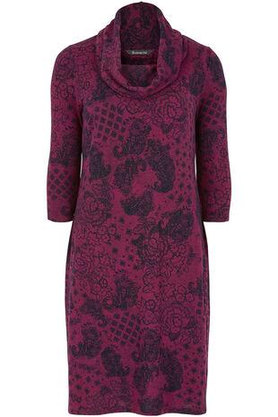 Paisley Print Cowl Neck Dress