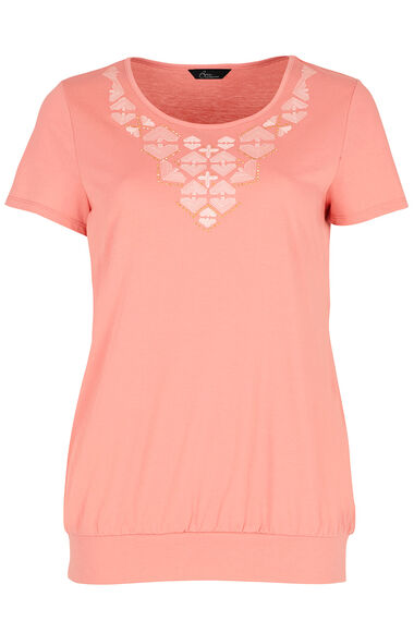 Embroidered Scoop T-Shirt