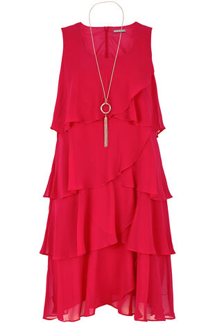 Ann Harvey Tiered Chiffon Dress