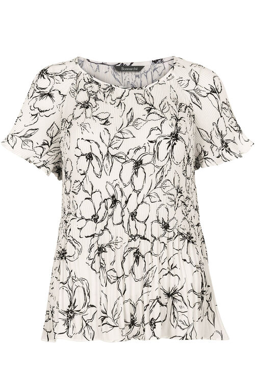 Floral Print Pleated Top