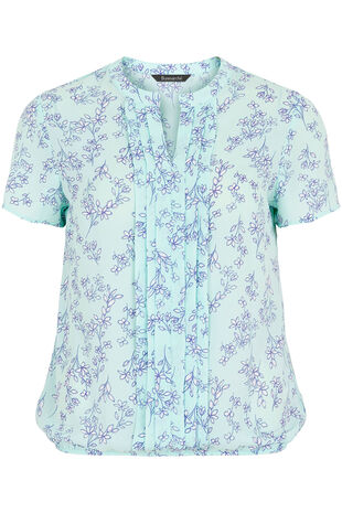Short Sleeve Printed Pleat Front Blouse