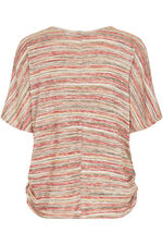 Stripe Side Rouched Snit Top with Necklace