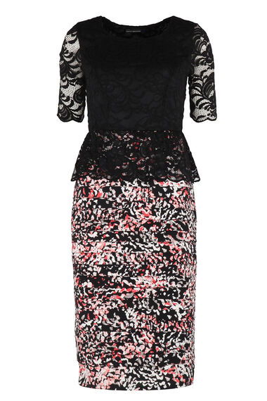 David Emanuel Signature Lace Peplum Dress