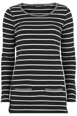 Contrast Trim Striped Tunic