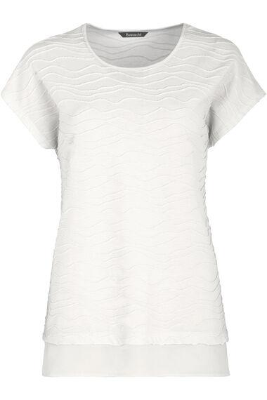 Chiffon Hem Textured T-Shirt