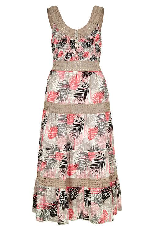 Palm Print Tiered Cotton Maxi Dress