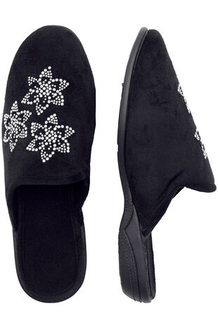 Diamante Flower Closed Toe Mule