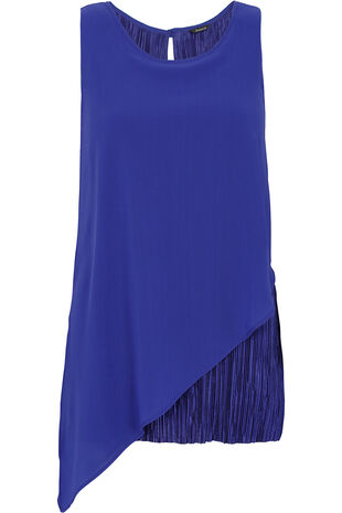 Sleeveless Pleated Asymmetric Layered Top