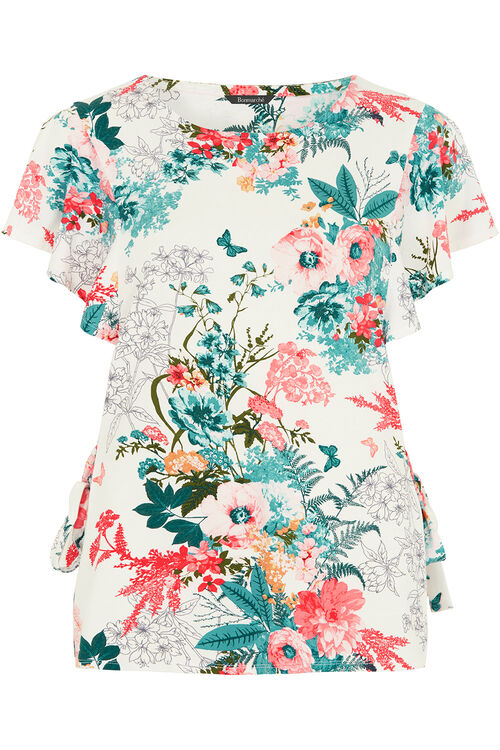 Floral And Butterfly Tie Detail Top