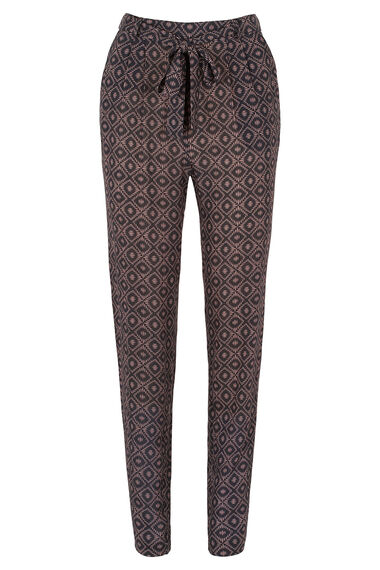 Textured Printed Tie Front Trousers