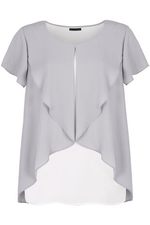 David Emanuel Short Sleeve Ruffle Cape Blouse