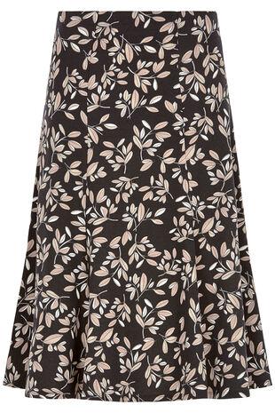 Leaf Print Jersey Skirt