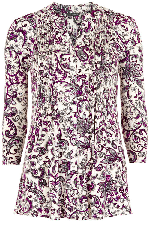 Paisley Printed Pintuck Jersey Shirt