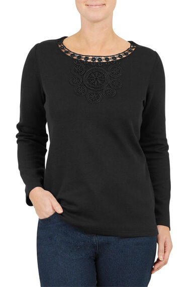 Circle Lace V Neck Rib Back