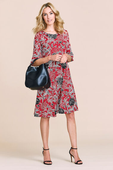 Flute Sleeve Printed Swing Dress
