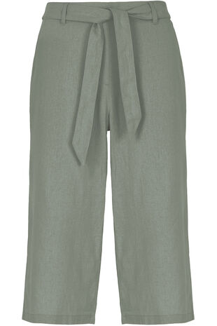 Wide Leg Linen Cropped Trousers