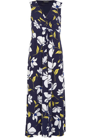 Printed Twist Front Maxi Dress