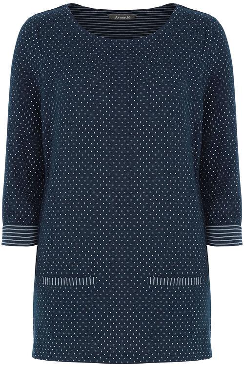 Spot & Reverse Stripe Crew Neck Sweater