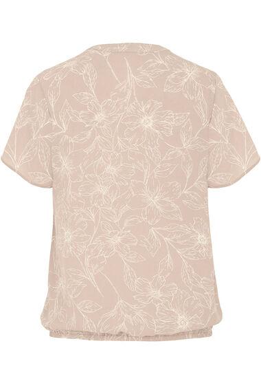 Floral Print Short Sleeve Pleat Front Blouse