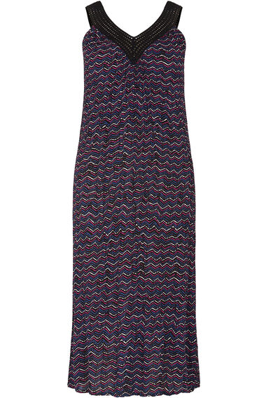 Chevron Stripe Crinkle Sleeveless Crochet Neck Dress