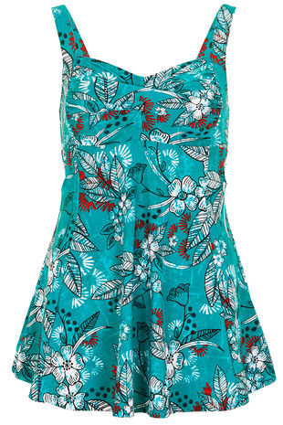 Printed Twist Front Swimdress