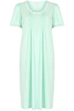Aqua Lace Neck Nightdress