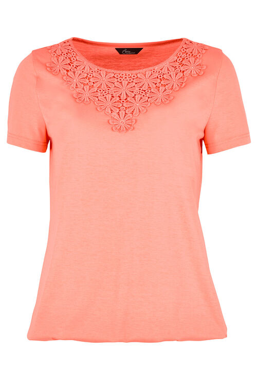 Rose Placement Print Tie Back T-Shirt