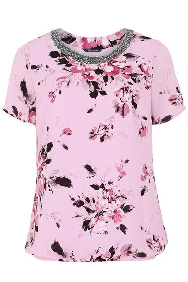 Floral Printed Top With Embellished Neckline
