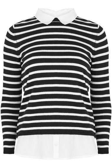 Stripe Woven Hem Jumper