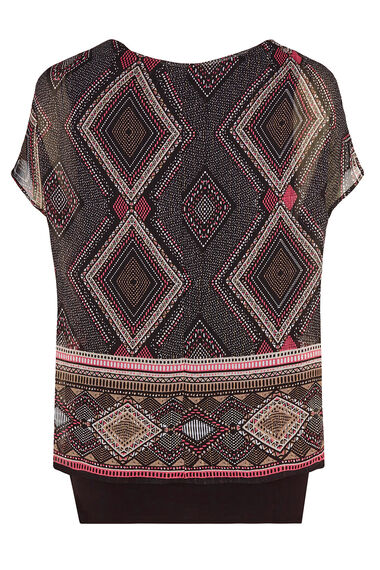 David Emanuel Double Layer Diamond Print Blouse