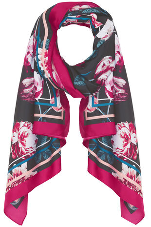 Floral Printed Border Satin Scarf