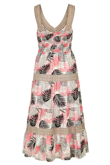 Palm Print Tiered Cotton Maxi Dress