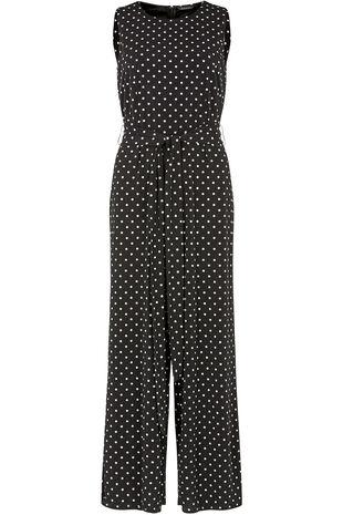 Spot Print Belted Jumpsuit