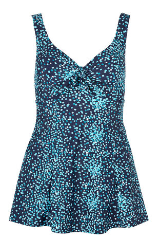 Square Print Bow Swimdress