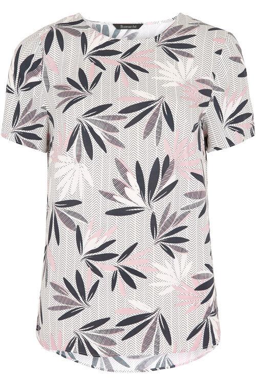Floral Herringbone Print Spun Blouse