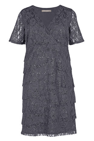 Ann Harvey Sequin Lace Tier Dress
