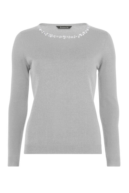 Super Soft Beaded Neck Jumper
