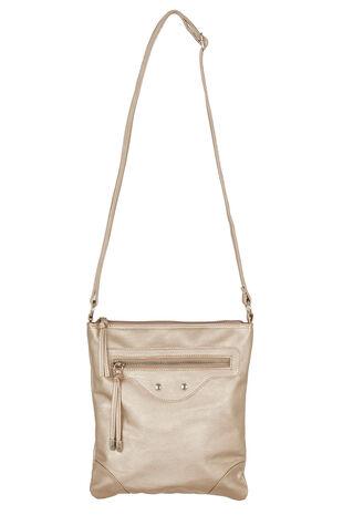 Metallic Zip Frount Crossbody Bag
