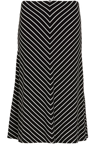 Stripe Panel Jersey Skirt