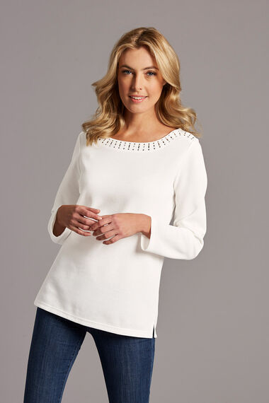 Jewelled Boat Neckline Textured Rib T-Shirt