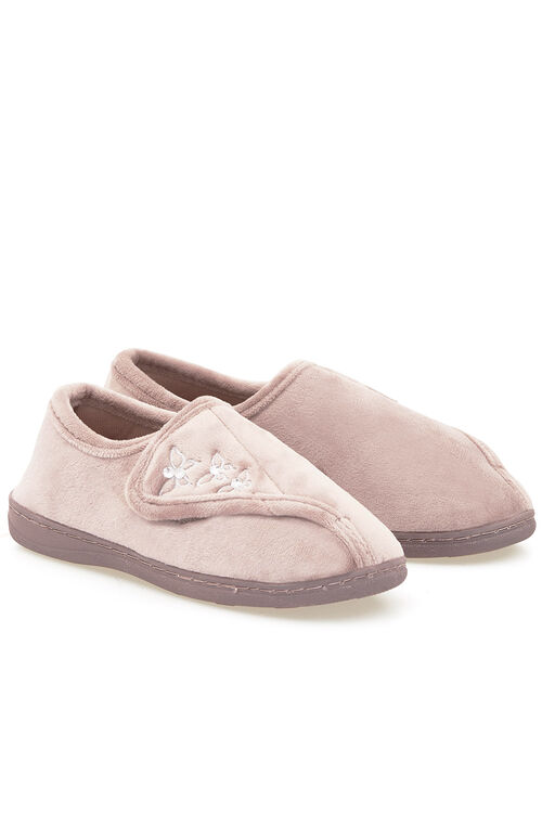 Touchfasten Embroidered Velour Slipper