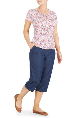 Chambray Cargo Crop