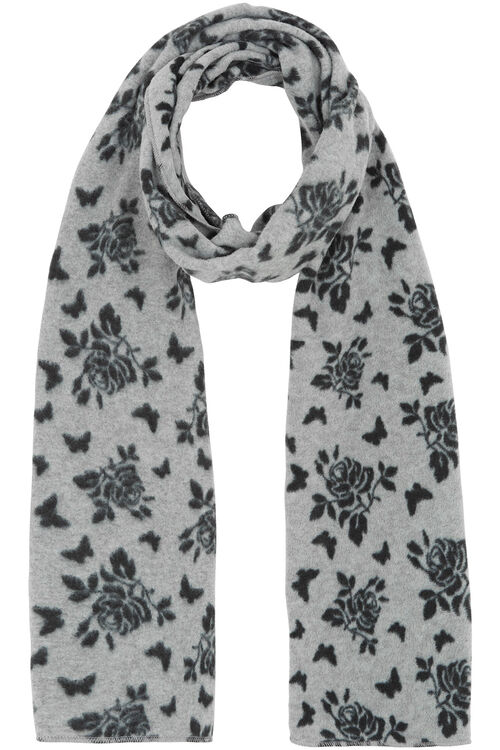 Rose and Butterfly Printed Scarf and Glove Set