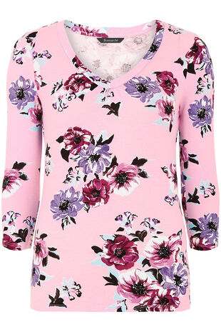 3/4 Sleeve Floral Print V Neck Top