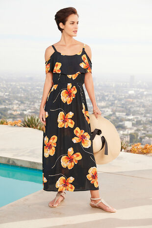 Poppy Print Cold Shoulder Maxi Dress
