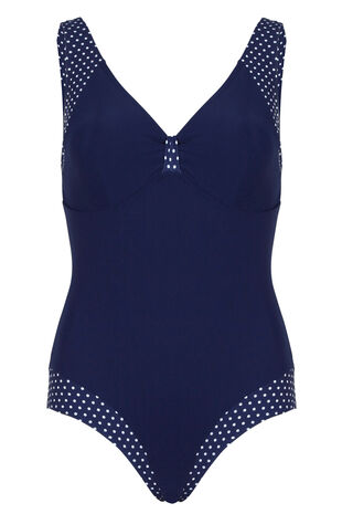 White Spot Trim Swimsuit