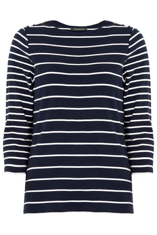 Boat Neck Stripe T-Shirt