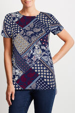 Patchwork Print Shell Top