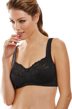Non-Wire Lace Trim Wide Strap Control Bra