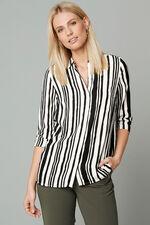 Longline Stripe Print Button Through Shirt